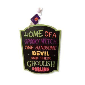Halloween Hanging Sign Home Witch Devil Goblins